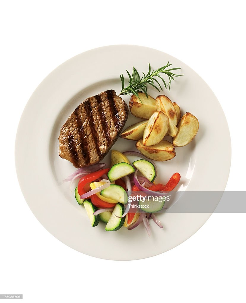 Steak with potatoes and vegetables : Stock Photo