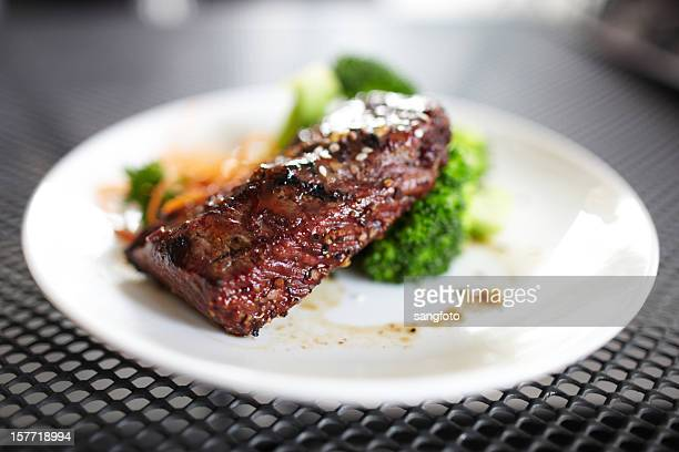 Steak with vegetable outdoors
