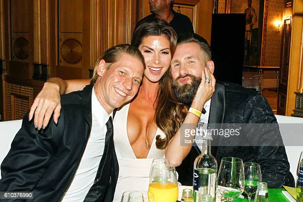 Steakhouse owner Tim Buergin with his wife Diana Buergin and Lars Koehl attend the7th VITA Charity Gala in Wiesbaden on September 24 2016 in...