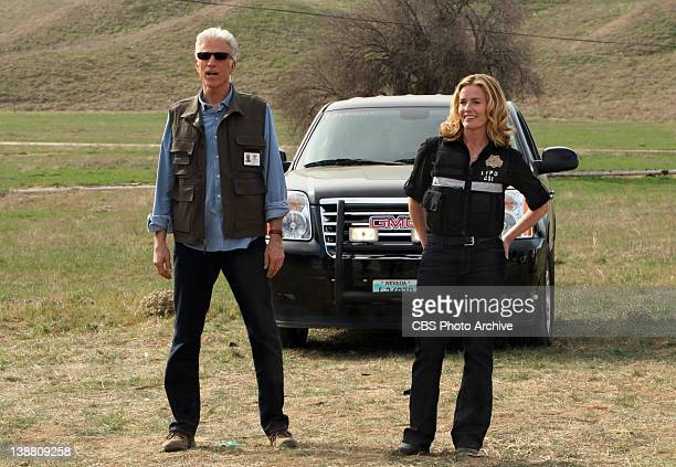 """Stealing Home"""" -- D.B. Russell and Julie Finlay smile in disbelief after seeing a crime scene, on CSI: CRIME SCENE INVESTIGATION, Wednesday, Feb. 22..."""