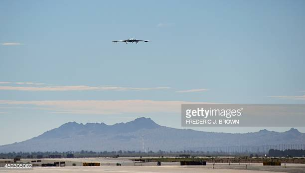 Stealth Bomber comes in for a landing at the Palmdale Aircraft Integration Center of Excellence in Palmdale California on July 17 where the US Air...