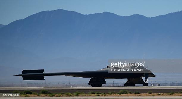 Stealth Bomber lands at the Palmdale Aircraft Integration Center of Excellence in Palmdale California on July 17 as the US Air Force and manufacturer...