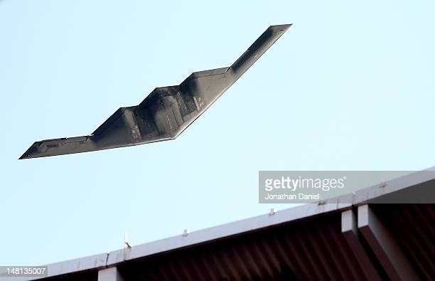Stealth Bomber performs a flyover during the 83rd MLB AllStar Game at Kauffman Stadium on July 10 2012 in Kansas City Missouri