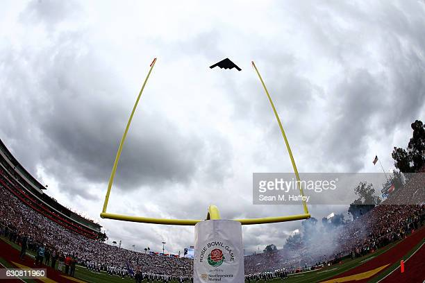 Stealth Bomber performs a flyover prior to the 2017 Rose Bowl Game presented by Northwestern Mutual between the USC Trojans and the Penn State...