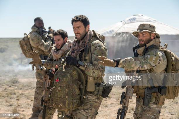THE BRAVE 'Stealth' Episode 108 Pictured Demetrius Grosse as CPO Ezekiel 'Preach' Carter Hadi Tabbal as Agent Amir AlRaisani Noah Mills as Sergeant...