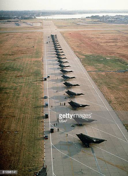 Stealth Fighter Aircraft From The 37Th Tactical Fighter Wing, Tonopah Test Range, Nev., Line The Runway After Arriving For An Overnight Stay While...