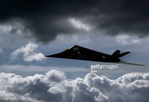 stealth fighter - f-117a nighthawk - stealth bomber stock photos and pictures