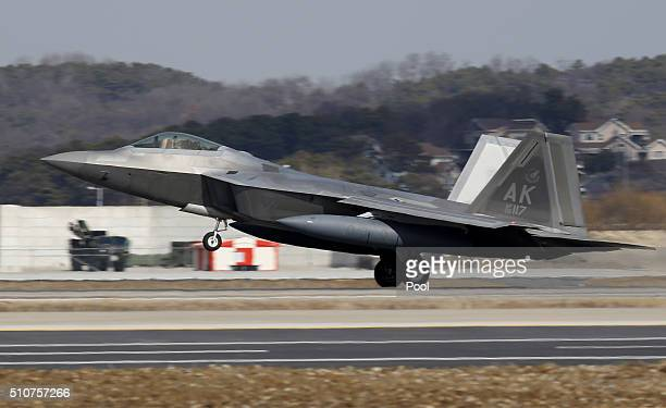 S F22 stealth fighter lands at the Osan Air Base on February 17 2016 in Pyeongtaek South Korea US military has deployed four F22 stealth fighter jets...