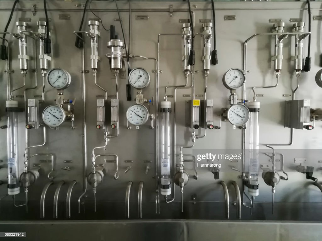 Steam and chemical sampling panel in sampling room of power plant : Stock Photo
