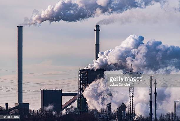 Steam and exhaust rise from the steel mill HKM Huettenwerke Krupp Mannesmann GmbH on a cold winter day on January 6 2017 in Duisburg Germany...