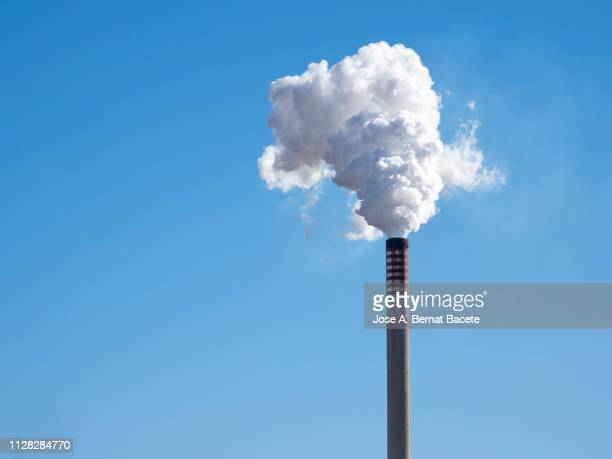 steam and smoke billows from smokestack at massive thermal power plant on a clear sky. - carbon dioxide stock pictures, royalty-free photos & images