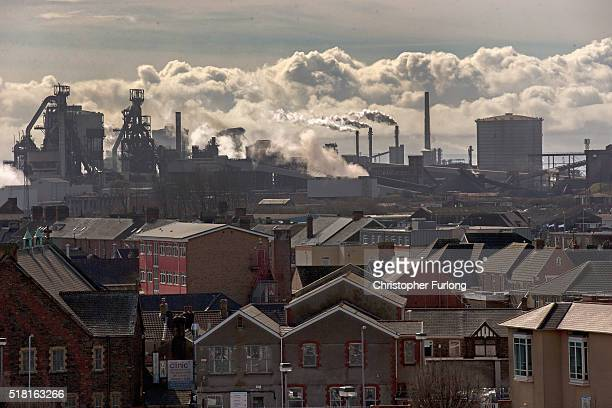 Steam emits from the Tata Steel steel plant at Port Talbot on March 30 2016 in Port Talbot Wales Indian owners Tata Steel put its British business up...