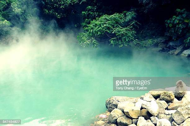 Steam Emitting From Lake In Geothermal Valley
