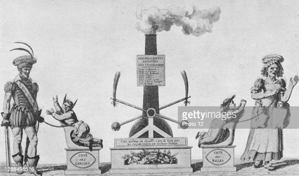 Steam engine for punishing quickly boys and girls. The engraving relates to the recent invention of the steam machine. Louis Barron, Paris...