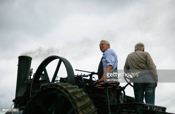 A steam engine is driven into the arena during the Duncombe Park Steam Rally on July 1 2017 in Helmsley United Kingdom Held annually in the...
