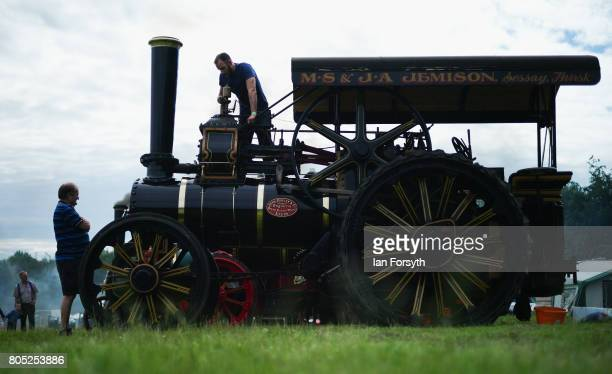 A steam engine is prepared during the Duncombe Park Steam Rally on July 1 2017 in Helmsley United Kingdom Held annually in the picturesque...