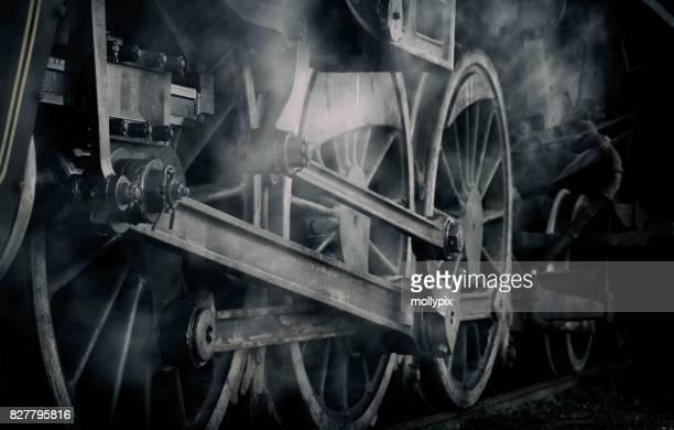 steam engine locomotive train wheel wispy - locomotive stock photos and pictures