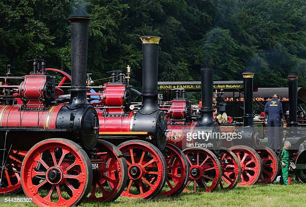 Steam engines are displayed at the annual Duncombe Park Steam Fair on July 3 2016 in Helmsley England Held in the picturesque grounds of Duncombe...