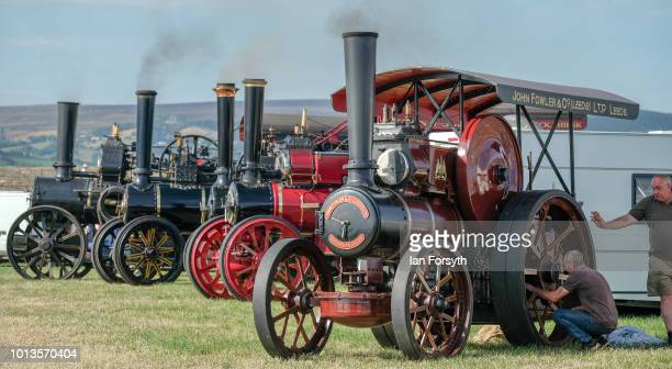 Steam engines are displayed during the final day of the Whitby Traction Engine Rally on August 5, 2018 in Whitby, England. Situated close to the...
