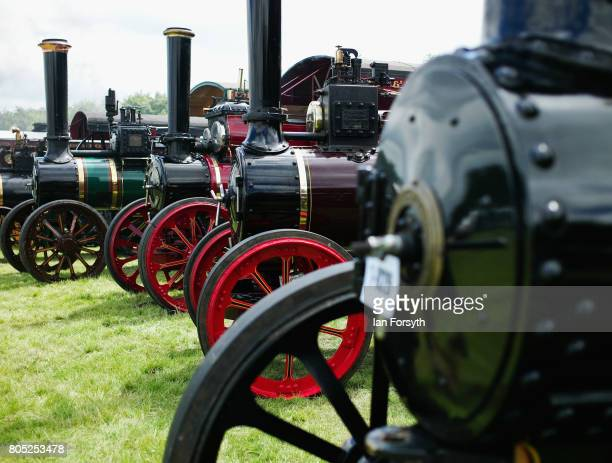 Steam engines are lined up during the Duncombe Park Steam Rally on July 1 2017 in Helmsley United Kingdom Held annually in the picturesque...