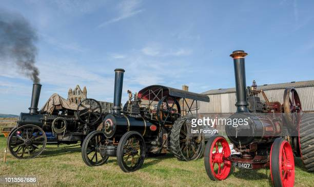 Steam Engines line up on display during the final day of the Whitby Traction Engine Rally on August 5, 2018 in Whitby, England. Situated close to the...