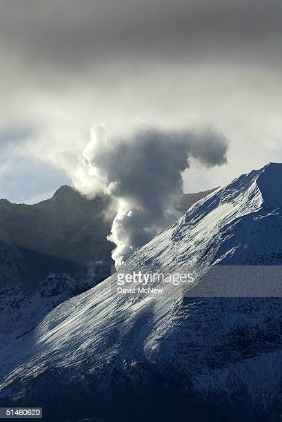 Steam erupts from Mount Saint Helens volcano at sunrise breaking an unexpected calm in seismic activity on October 10 2004 in Mount Saint Helens...