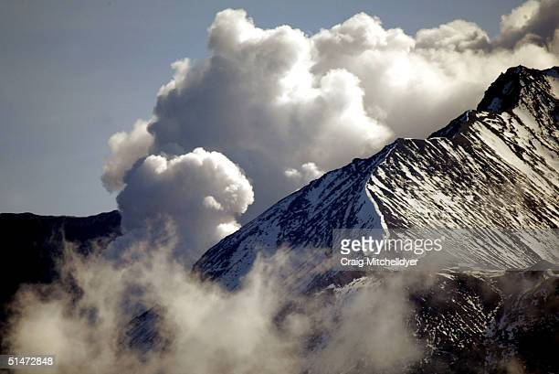 Steam erupts from Mount St. Helens October 12, 2004 at Mount St. Helens National Monument, in Washington. The steam eruptions have increased as magma...