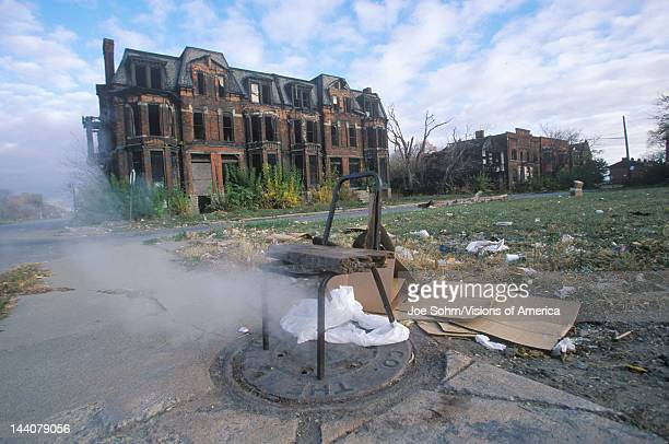 Steam escaping from manhole with chair Detroit Michigan