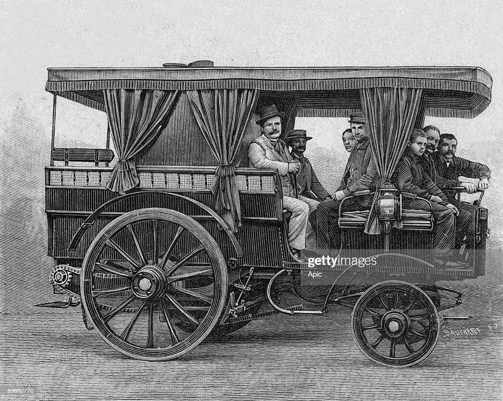 Steam estate car invented by Maurice Le Blant (1857-1923) engraving ...
