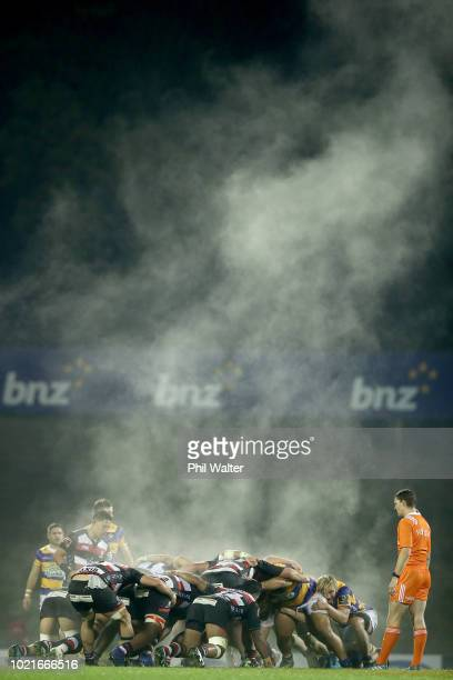 Steam forms off the scrum during the round two Mitre 10 Cup match between Counties Manukau and Bay of Plenty at ECOLight Stadium on August 23 2018 in...