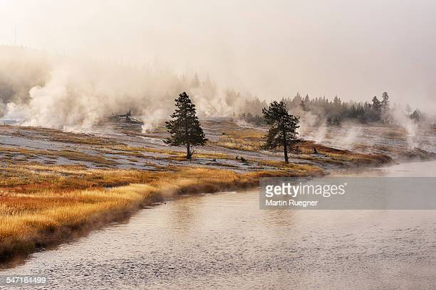 Steam from hot springs at Firehole river, autumn