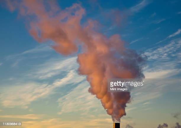 steam from smokestack - carbon footprint stock pictures, royalty-free photos & images