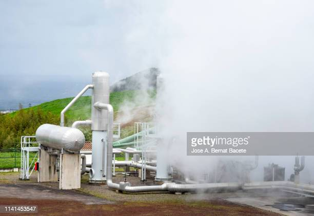 Steam geothermal power station. Ribeira Grande on the island of Sao Miguel, Azores Islands, Portugal. Europe