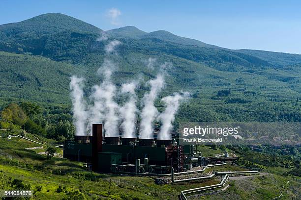 Steam is arising from the Bagnore 3 Geothermal Power Station in the morning