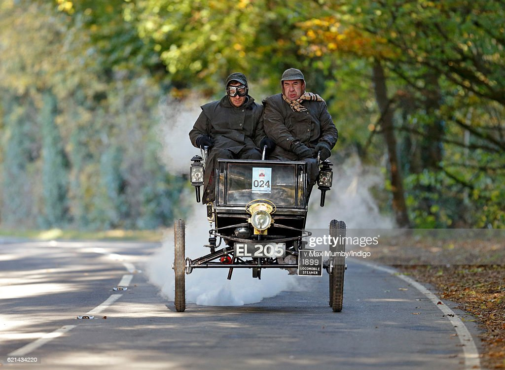A 1899 steam Locomobile takes part in the 120th London to Brighton Veteran Car Run on November 6, 2016 in Staplefield, England. Over 400 pre-1905 manufactured vehicles take part in the annual run from London to Brighton to commemorate the Emancipation Run of November 1896 which celebrated the raising of the speed limit from 4mph to 14 mph.