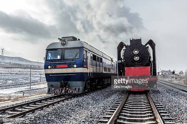 Steam Locomotive and Modern Engine