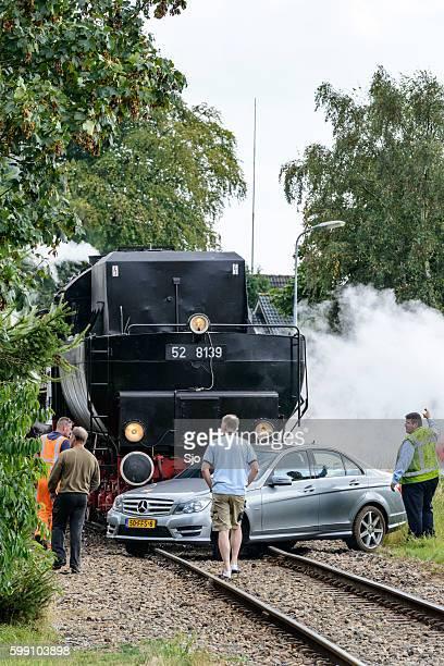 Steam locomotive and passenger car crash