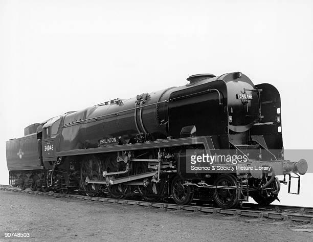 Steam locomotive 'Braunton', 1959. This British Railways West Country Class 4-6-2 steam locomotive No 34046 is seen here after it was rebuilt in...