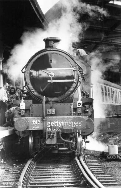 Steam locomotive No 2005 at Newcastle Central Station on 13th June 1987 on its way to Glasgow to work the West Highlander steam service between fort...