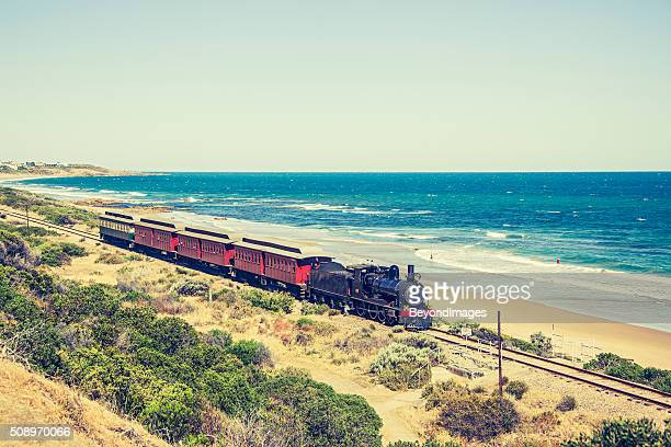 Steam locomotive with SteamRanger's Cockle Train in picturesque coastal scenery