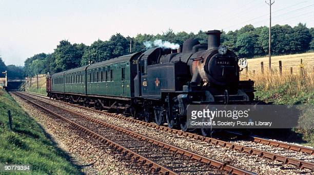 Steam locomotive with train near Chilham Kent 1959 This British Railways local service between Ramsgate and Ashford is headed by the 262T Class 2...