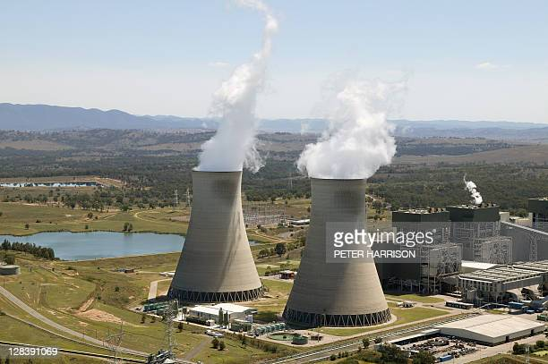 steam outlets at bayswater power station in hunter valley, nsw, australia - bayswater stock pictures, royalty-free photos & images
