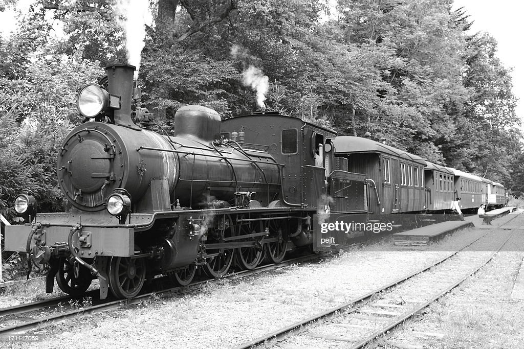 Steam passenger train waiting for departure : Stock Photo