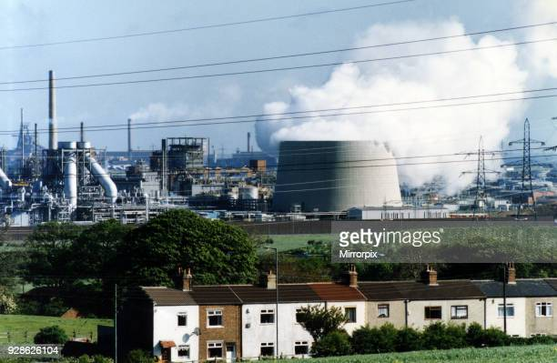 Steam pours out of the new Enron cooling tower billowing towards Redcar 30th July 1993