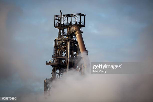 Steam rises at the Tata steelworks on January 19, 2016 in Port Talbot, Wales. Tata Steel announced yesterday that it plans to cut 1,050 jobs in the...