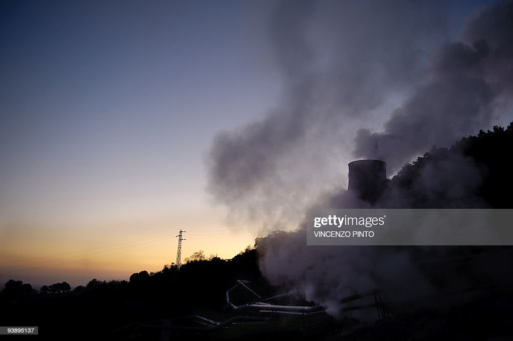 Steam rises from a chimney of a geotherm : News Photo