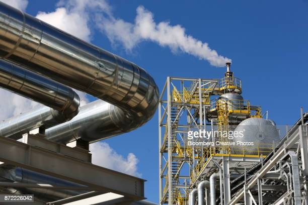 Steam rises from a new ammonia production unit currently under testing
