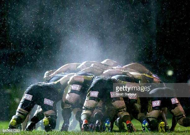 Steam rises from a scrum during the Super Rugby Exhibition match between the Rebels and the Hurricanes at Harlequins Rugby Club on June 23 2016 in...