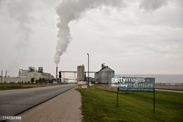 Steam rises from a stack outside the POET LLC ethanol biorefinery in Gowrie Iowa US on Friday May 17 2019 Stockpiles of US corn ethanol sank to the...