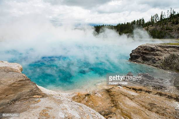 Steam rises from Excelsior Geyser